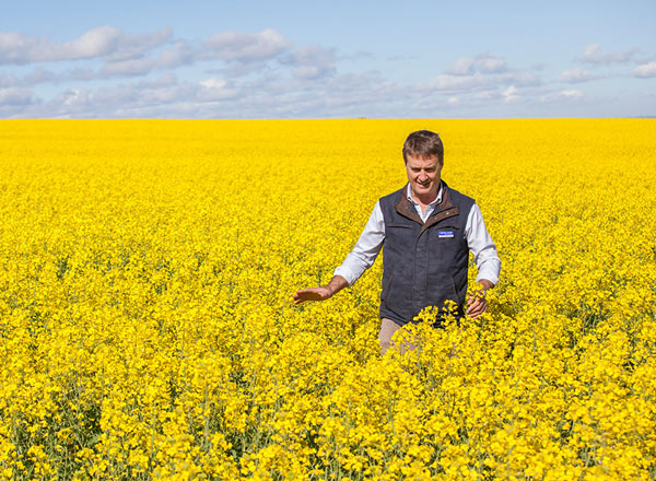 Andrew Newland walking through a canola field
